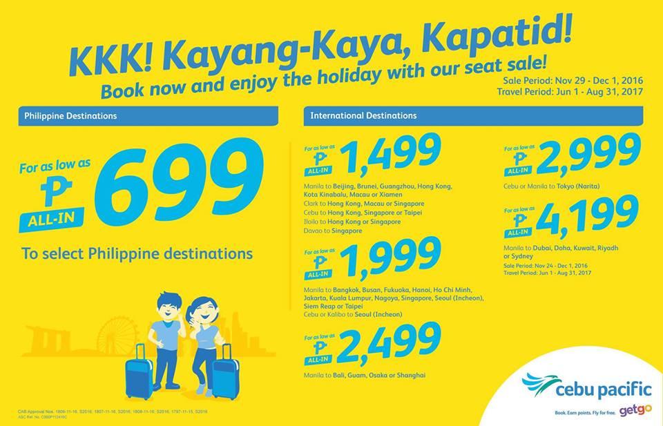 Cebu Paciifc Seat Sale Promo