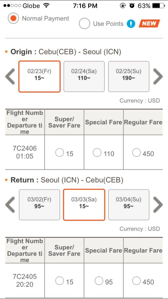 JEJUAIR SUPER SALE USD15