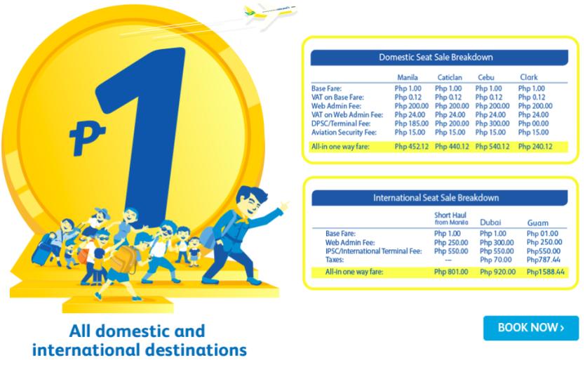 Cebu Pacific Piso Promo Fare