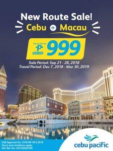 Cebu Pacific Air Cebu to Macau