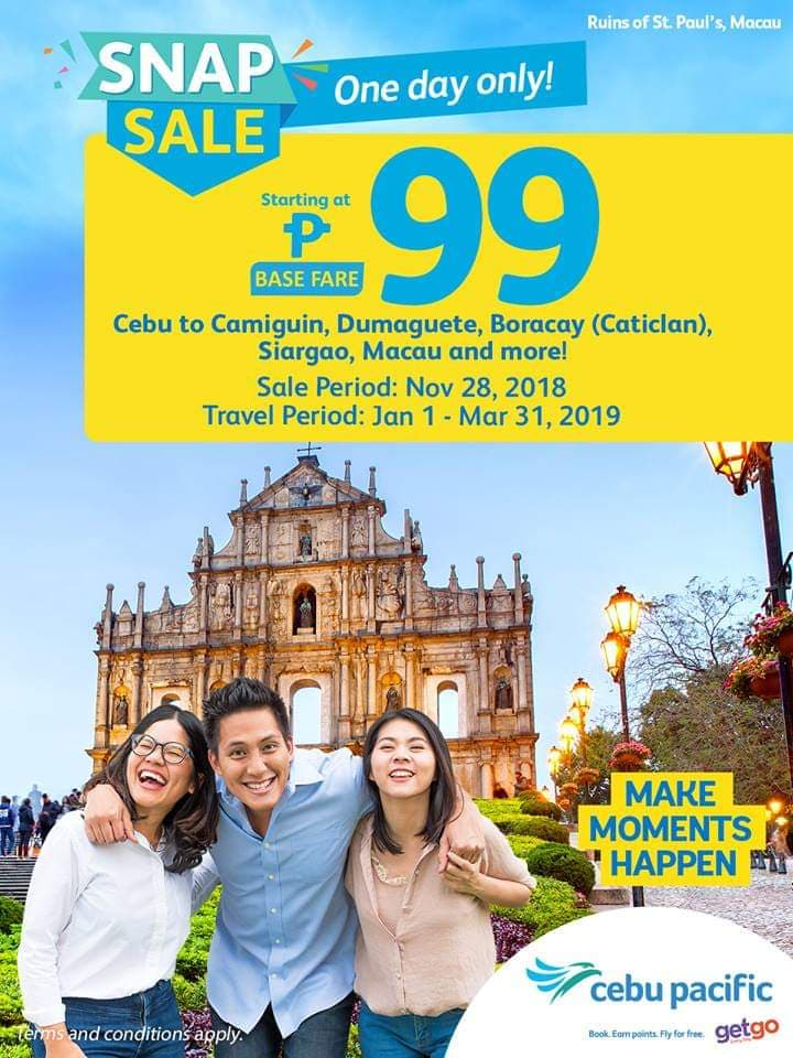 Cebu Pacific Air One day snap sale